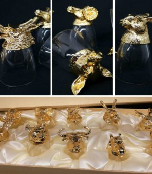 Gold Zodiac Animal Shot Glass