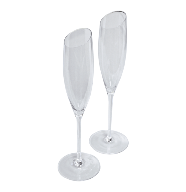 Crystal Champagne Glass Pair – Angled Cut
