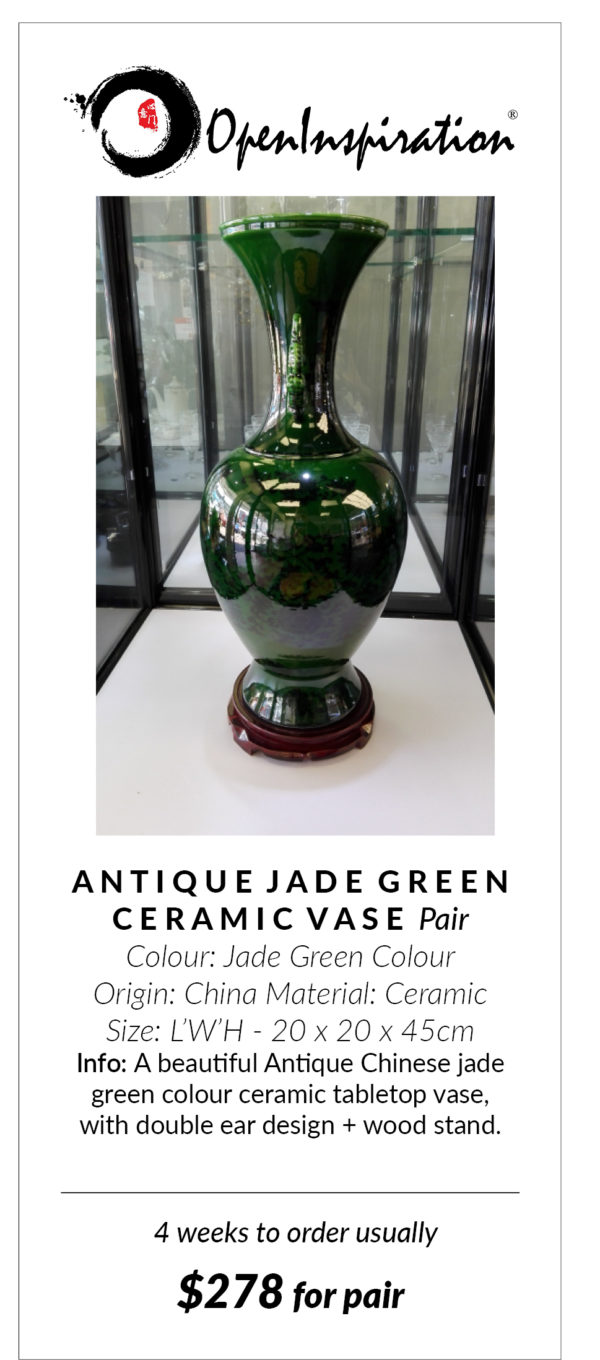 Jade Green Ceramic Vase One Pair Openinspiration Nz Furniture Online Store